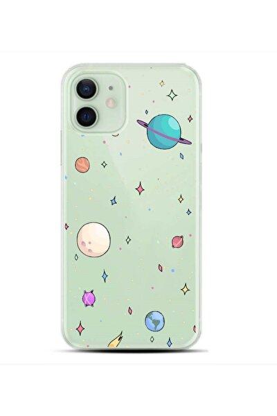 Iphone 12 Gezegen Desenli Şeffaf Telefon Kılıfı