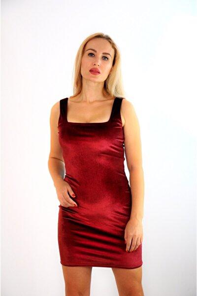 Kadın Esnek Kadife Kumaş Kare Yaka Askılı Bordo Abiye Elbise Bordo Kadife Elbise