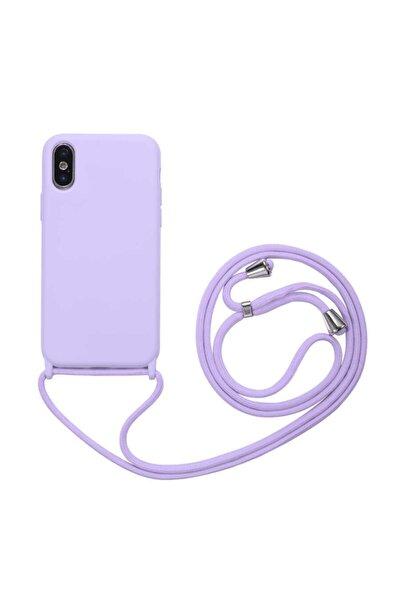 Apple Iphone X/xs Kılıf Ipli Boyun Askılı Içi Kadife Lansman Yumuşak Silikon