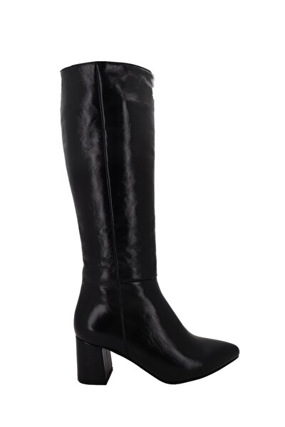 Siyah Rugan Deri Kadın Topuklu Çizme Lp0404
