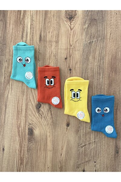 Unisex Renkli Kokulu Desenli Çorap 4'lü