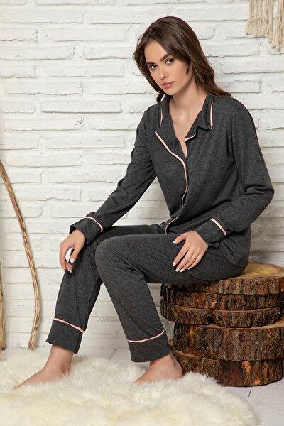 Kadın Antrasit Düğmeli Uzun Kol Pamuklu Likralı Pijama Takım
