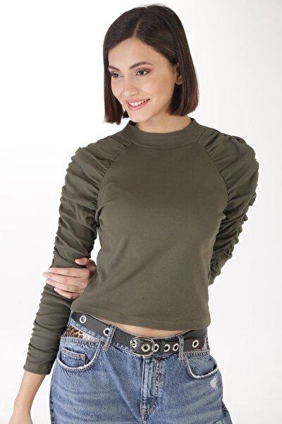 Kadın Yeşil Kolu Büzgülü Bluz