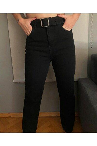 Kadın Siyah Kemerli Kot Pantolon
