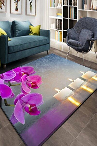 Osso Mor Çiçekler Mumlar Romantik 3d Desenli Lastikli Halı Örtüsü Halı Kılıfı