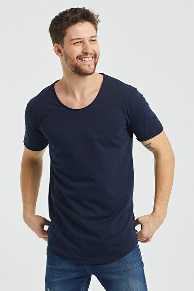 Erkek Lacivert Pis Yaka Salaş T-shirt