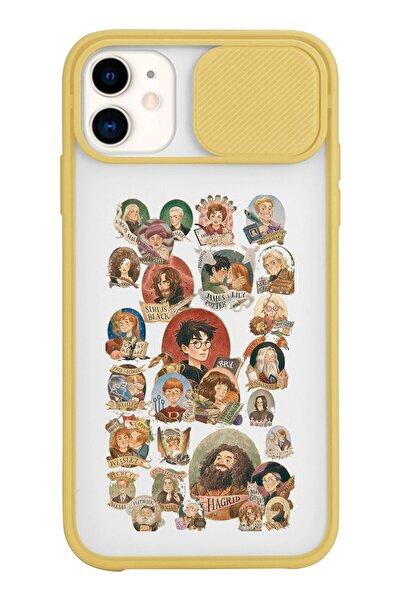 Iphone 11 Harry Potter Karakter Tasarımlı Slayt Lens Kamera Korumalı Sarı Telefon Kılıfı