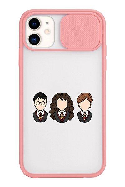 Iphone 11 Harry Potter Sticker Tasarımlı Slayt Lens Kamera Korumalı Pudra Telefon Kılıfı