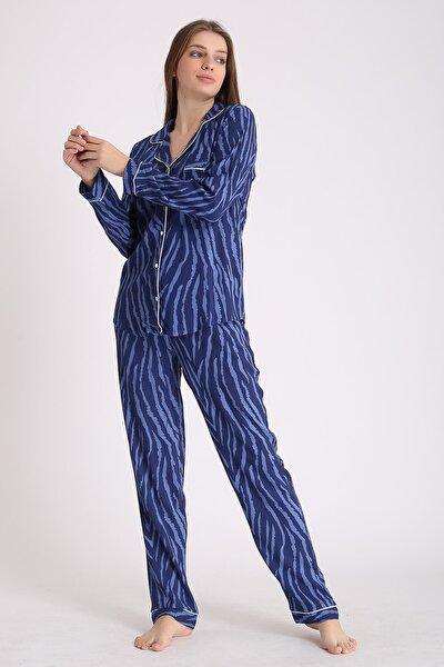Kadın Mavi Zebra Viskon Uzun Kollu Pijama Takımı