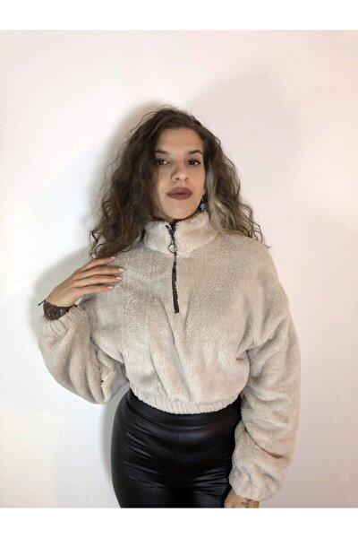 Kadın Beyaz Peluş Sweatshirt