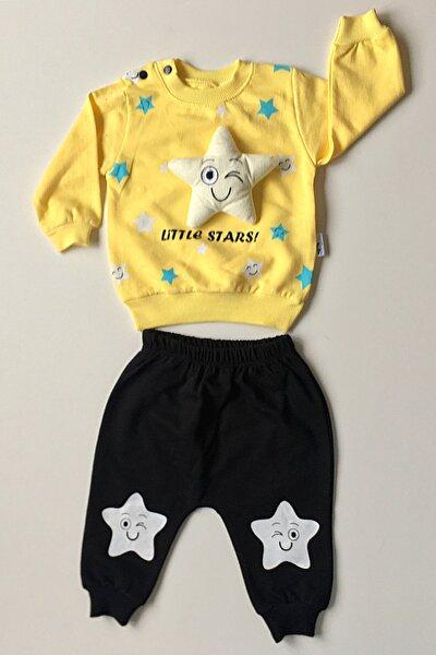 Kız Bebek Sarı Yıldızlı Alt Üst Takım
