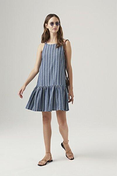 Kadın Gri Çizgili Kolsuz Elbise