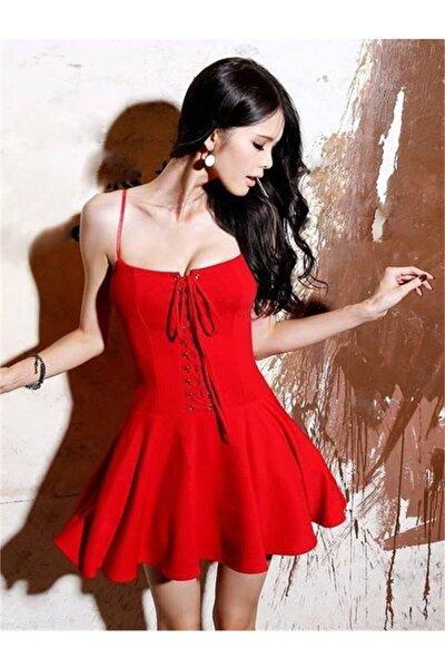 Kadın Kırmızı Esnek Dalgıç Kumaş Önden Bağcık Detaylı Askılı Elbise