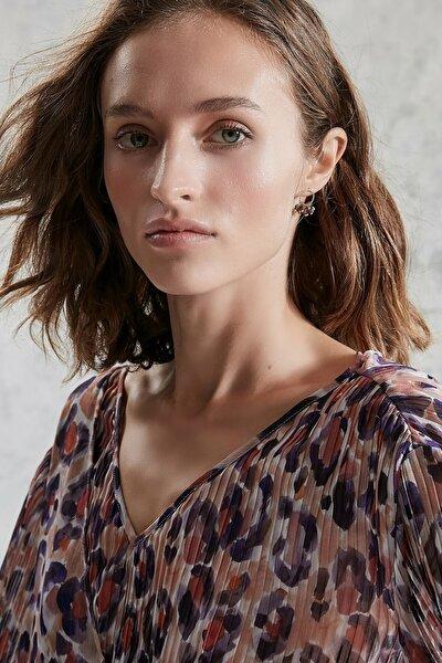 Kadın Mor Desenli Plise Detaylı Bluz 0KKGM6019X