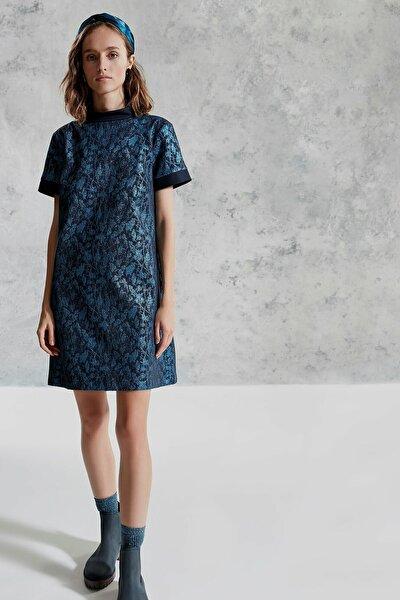 Kadın Turkuaz Dik Yakalı Elbise 0KKEL7012A