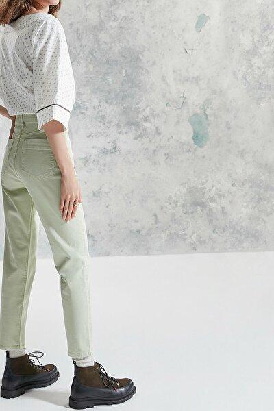 Kadın Nil Yeşili Simli Detaylı Pantolon 0KKPN3121A
