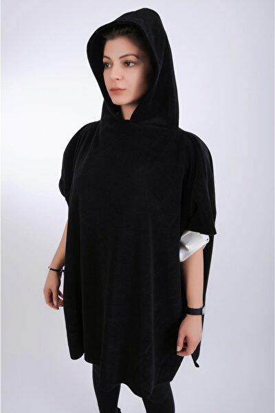 Kadın Siyah Polar Kapüşonlu Panço