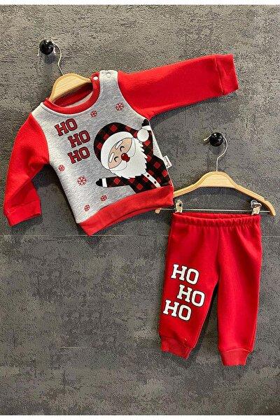 Unisex Bebek Gri Kırmızı Noel Baba Baskılı Üç Iplik Takım