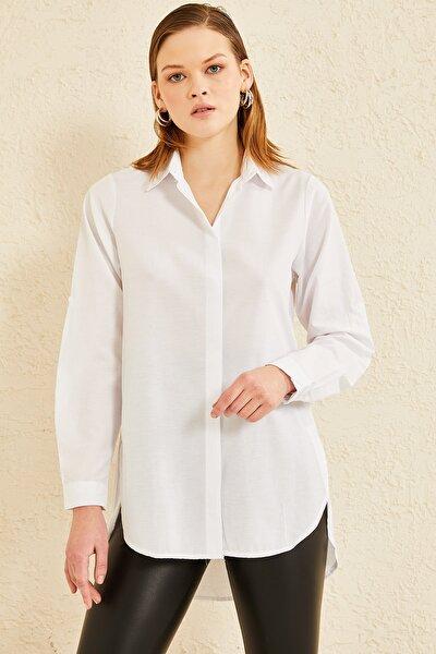 Kadın Patı Gizli Yanı Yırtmaçlı Gömlek