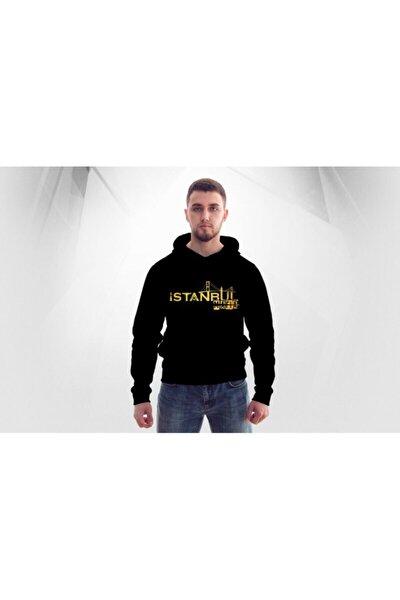 Unisex Siyah Istanbul Mafıa Kapşonlu  Hoodie Polar Sweatshirt