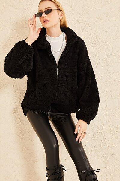 Kadın Siyah  Beli Latikli Fermuarlı Peluş Mevsimlik Ceket