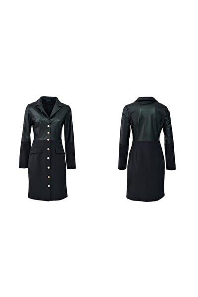 Kadın Siyah Deri Parçalı Ceket Elbise
