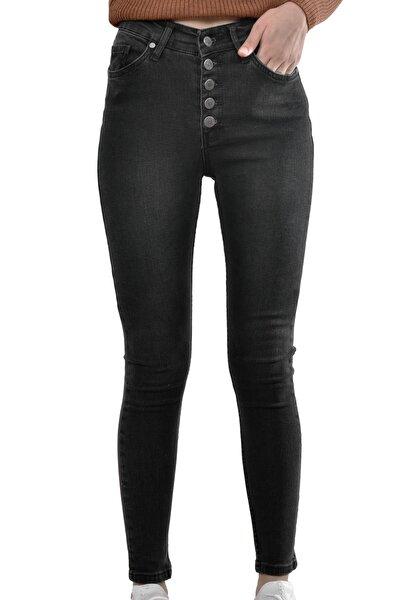 Kadın Siyah 5 Düğmeli Skinny Denim Pantolon