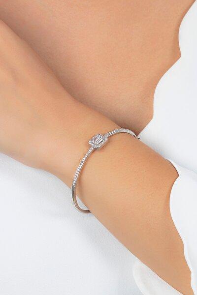 Kadın Baget Taşlı Kelepçe Gümüş Bileklik Vkb-6513