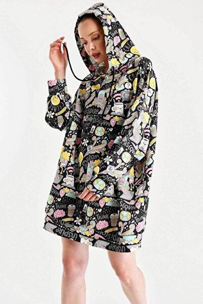 Kadın Siyah Grafik Desenli Oversize Sweat Elbise 4125