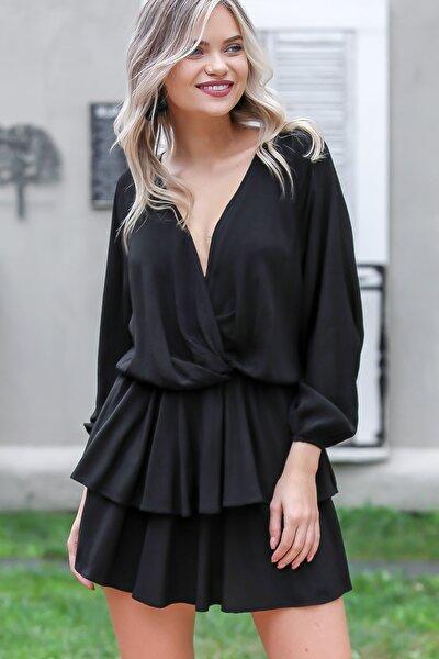 Kadın Siyah Vintage Kruvaze Balon Kol Kat Kat Fırfır Etek Detaylı Elbise C10160000EL96097