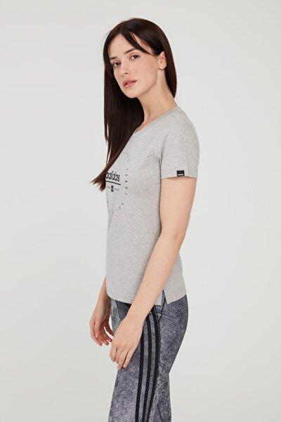 Kadın Gri Circular Graphic T-shirt