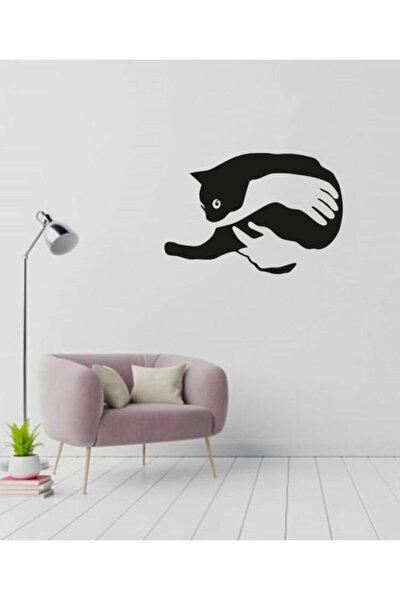 Kedi Sarılma Lazer Kesim Dekoratif Tablo Ahşap Duvar Süsü
