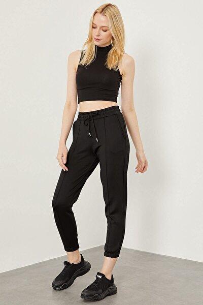 Kadın Siyah Çımalı Dalgıç Kumaş Pantolon