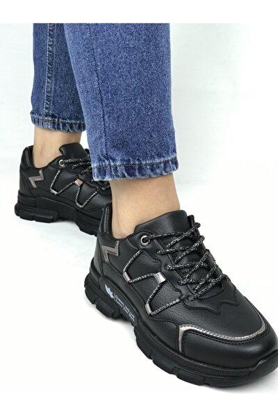 Kadın Siyah Parlak Çizgili Ortapedik Sneaker Ayakkabı