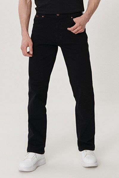 Texas Erkek Siyah Straight Fit Normal Bel Düz Paça Esnek Jean Pantolon