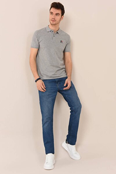 Erkek Basic Nakışlı Gri Melanj Polo Yaka T-shirt