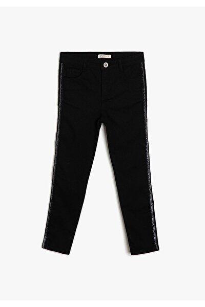 Siyah Çocuk Sim Detayli Jean Pantolon