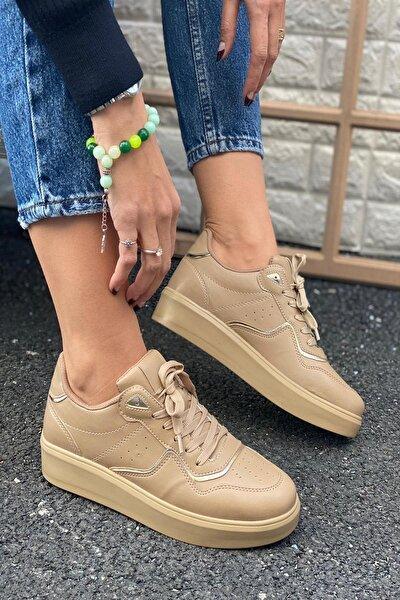 Kadın Bej Delik Detaylı Ve Parça Şeritli Sneaker