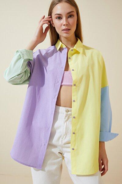 Kadın Sarı Blok Renkli Oversize Poplin Gömlek