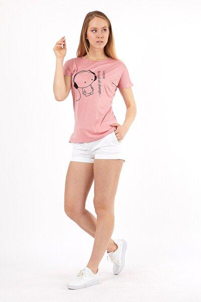 Kadın Önü Baskılı Yarasa Kol Bisiklet Yaka T-shirt