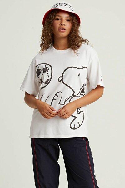 Kadın Beyaz Oversize T-Shirt 56152-0003