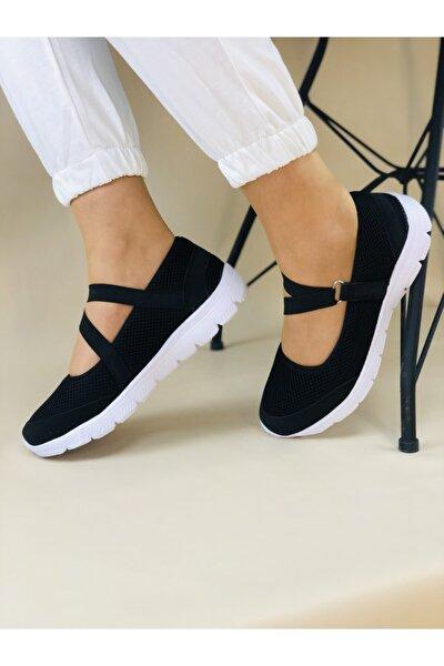 Kadın Siyah Beyaz Lastikli  Sneaker