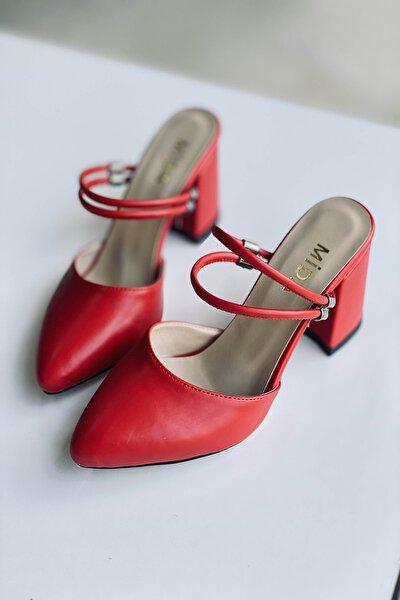 Kadın  Kırmızı Deri Çift Bantlı Topuklu Ayakkabı