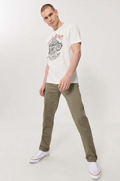 Erkek Zeytin Yeşili Slim Fit Normal Bel 5 Cep Esnek Pantolon