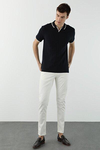 Erkek Slim Fit Lacivert Polo Yaka Dokulu T-shirt 1078402
