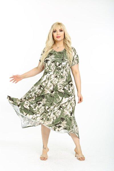 Kadın Yeşil Yazlık Kısa Kol Diz Altı Asimetrik Penye Viskon Elbise