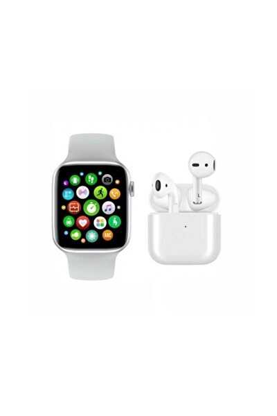 Saat Smart Watch + Airpods I12 Tws  Uyumlu Kablosuz Kulaklık Beyaz İkili Kombin