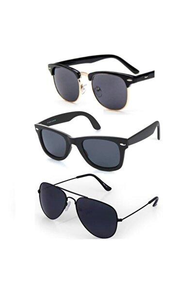 Siyah Unisex Güneş Gözlüğü Üçlü Set