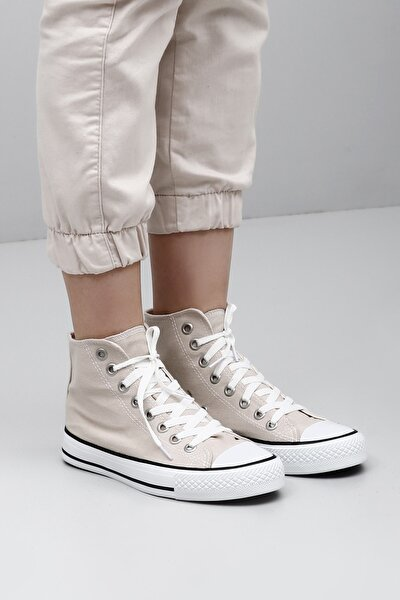 Gönderi® Bej Keten Bağcıklı Kadın Günlük Spor Bot Düz Taban Sneaker 35777
