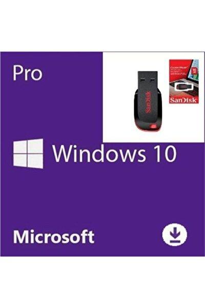 Windows 10 Pro Lisans Key+windows 10 Yüklü Sandisk 16 Gb Usb-ömür Boyu Kullanım-full Versiyon